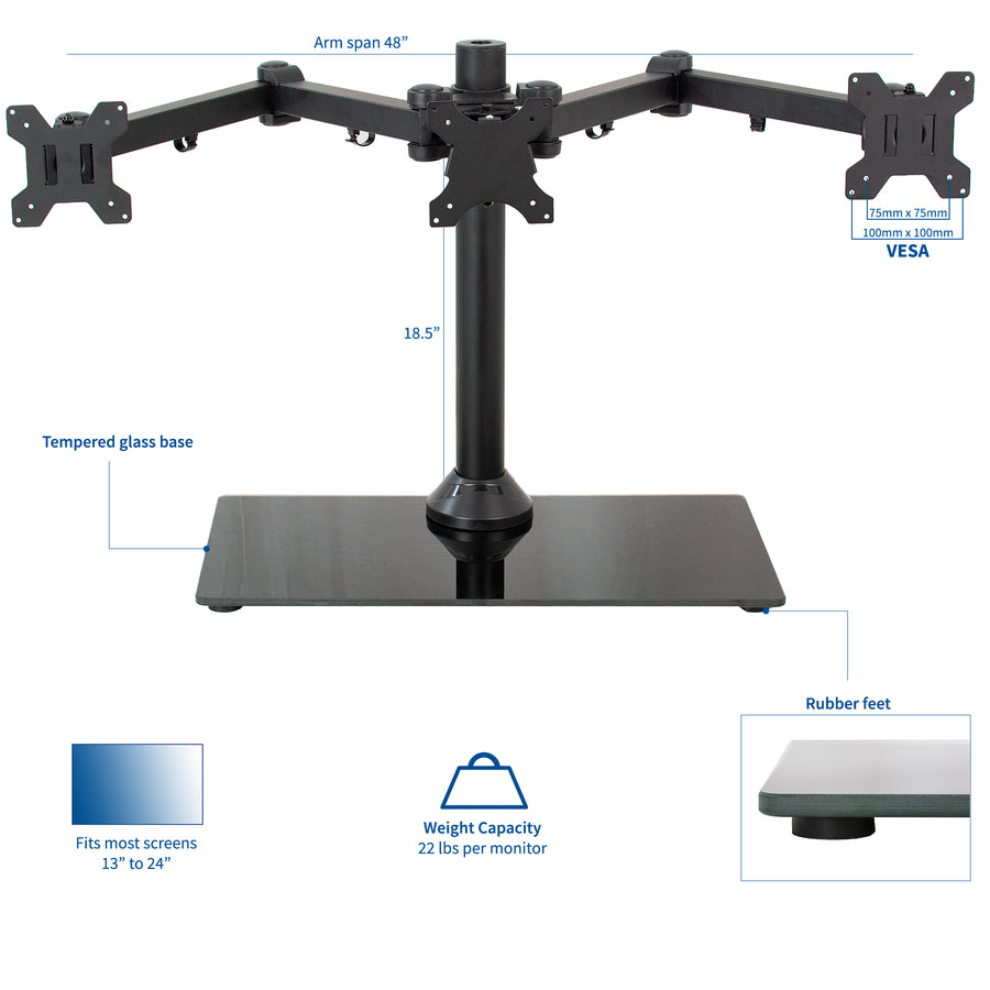 STAND-V003FG <br><br>Black Heavy Duty Triple Monitor Desk Stand w/Glass Base for Screens Up to 24