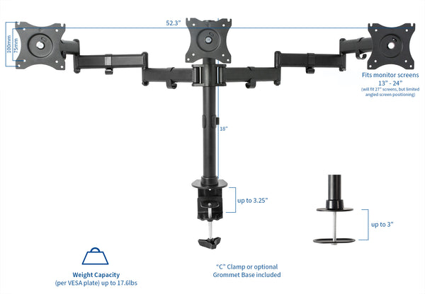 Triple Monitor Desk Mount
