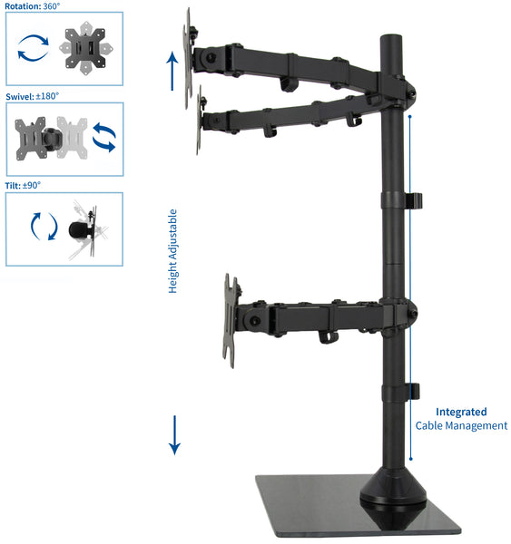 "STAND-V004FG <br><br><span style=font-weight:normal;>Black Adjustable Quad Monitor Desk Stand Mount Free Standing Heavy Duty Glass Base | Holds Four (4) Screens up to 27""</span>"