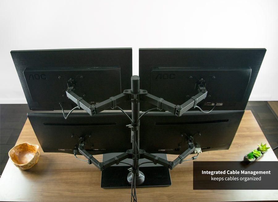 STAND-V004FG <br><br>Heavy Duty Quad Monitor Desk Stand w/ Glass Base for 13