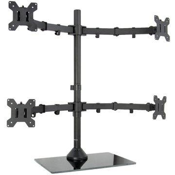 Black Adjustable Quad Monitor Desk Stand Mount FreeStanding Heavy Duty Glass Base | Holds Four (4) Screens up to 27