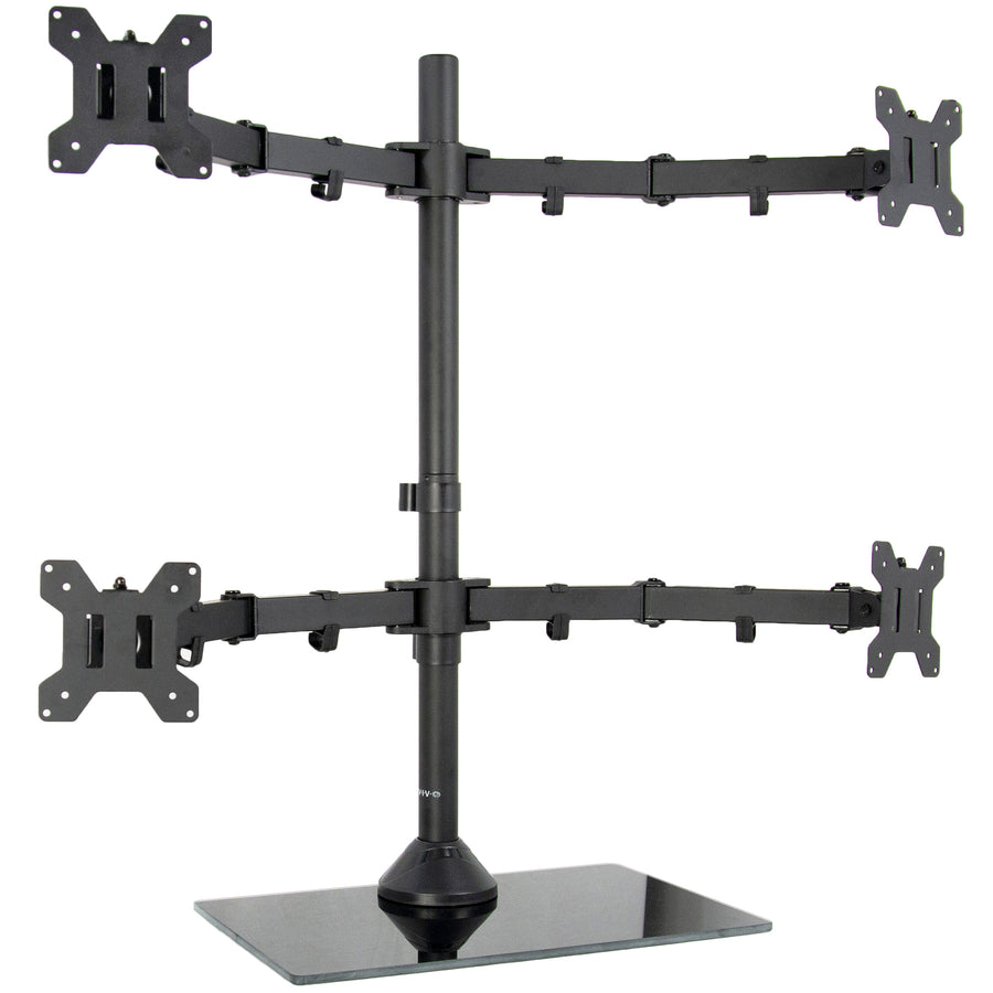 Black Adjustable Quad Monitor Desk Stand Mount FreeStanding Heavy Duty Glass Base | Holds Four (4) Screens up to 13