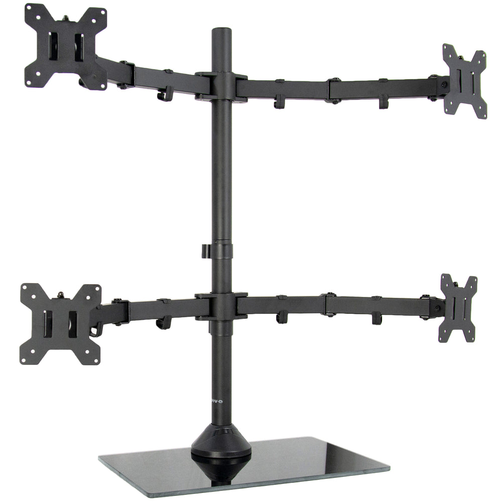 Black Adjustable Quad Monitor Desk Stand Mount FreeStanding Heavy Duty Glass Base | Holds Four (4) Screens up to 27""