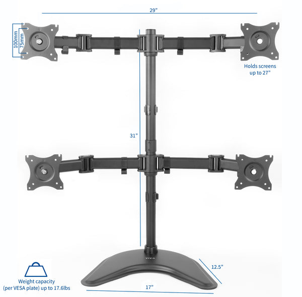 STAND-V004P <br><br>Quad Monitor Desk Stand