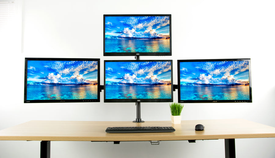 STAND-V004Y <br><br>Heavy Duty Quad Monitor Desk Mount for 13