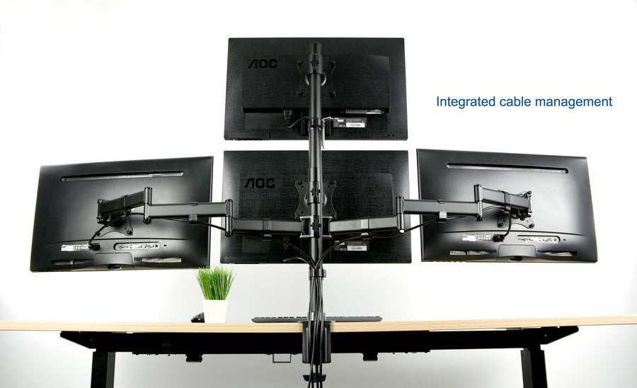 Quad LCD Monitor Heavy Duty Desk Mount 3 + 1 Stand / Holds Four Screens upto 13