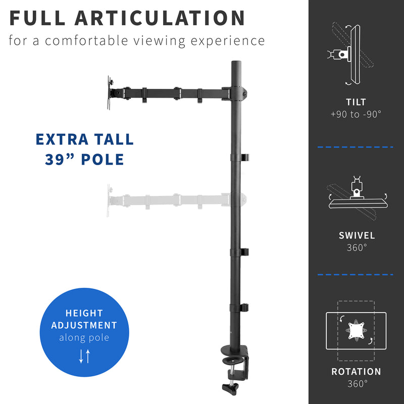 STAND-V011 <br><br>Single Monitor Extra Tall Desk Mount
