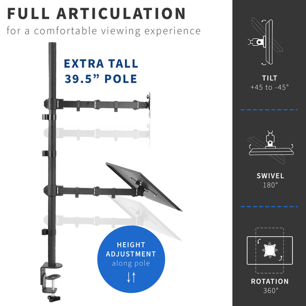 STAND-V012C <br><br>Single Monitor and Laptop Extra Tall Desk Mount