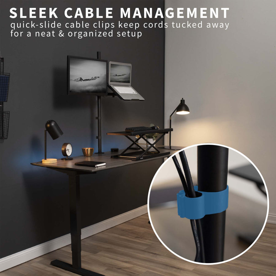 STAND-V012C <br><br>Monitor + Laptop Extra Tall Desk Mount for 13