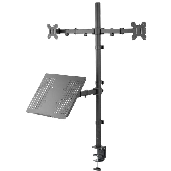 Dual Monitor Extra Tall Desk Mount with Laptop Holder