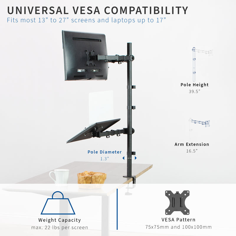 STAND-V012L <br><br>Dual Monitor Extra Tall Desk Mount with Laptop Holder