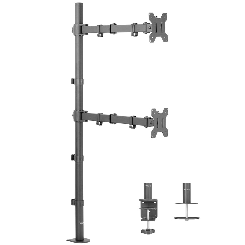 STAND-V012T<br><br>Dual Vertical Monitor Extra Tall Desk Mount