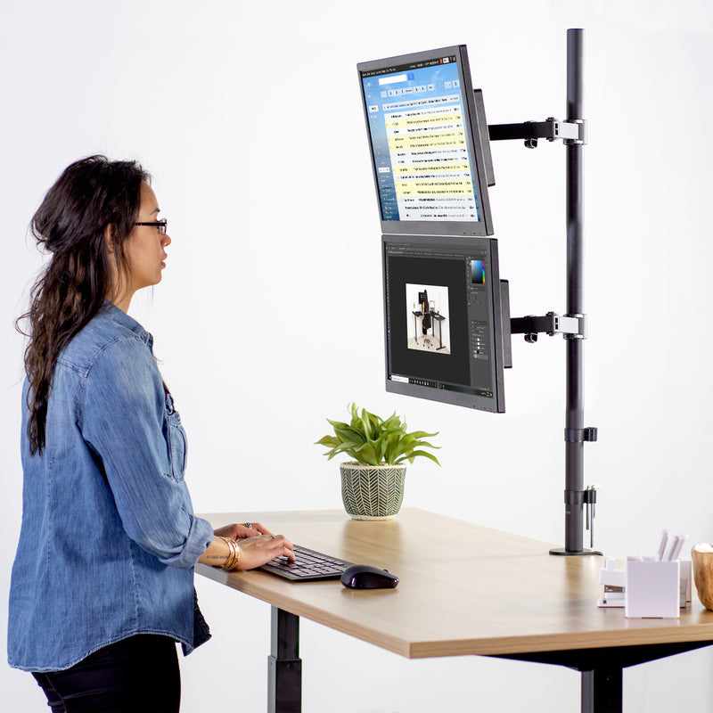 Dual Vertical Monitor Extra Tall Desk Mount