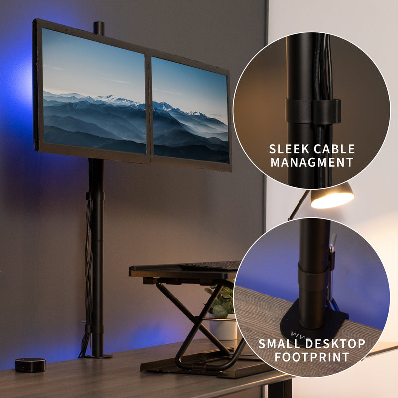 STAND-V012 <br><br>Dual Monitor Extra Tall Desk Mount