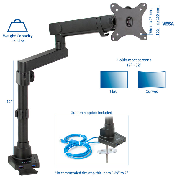 STAND-V101BDU<br><br>Pneumatic Arm Single Monitor Desk Mount with USB