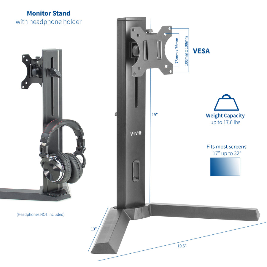 STAND-V101F <br><br>Single Monitor Stand with Headphone Holder