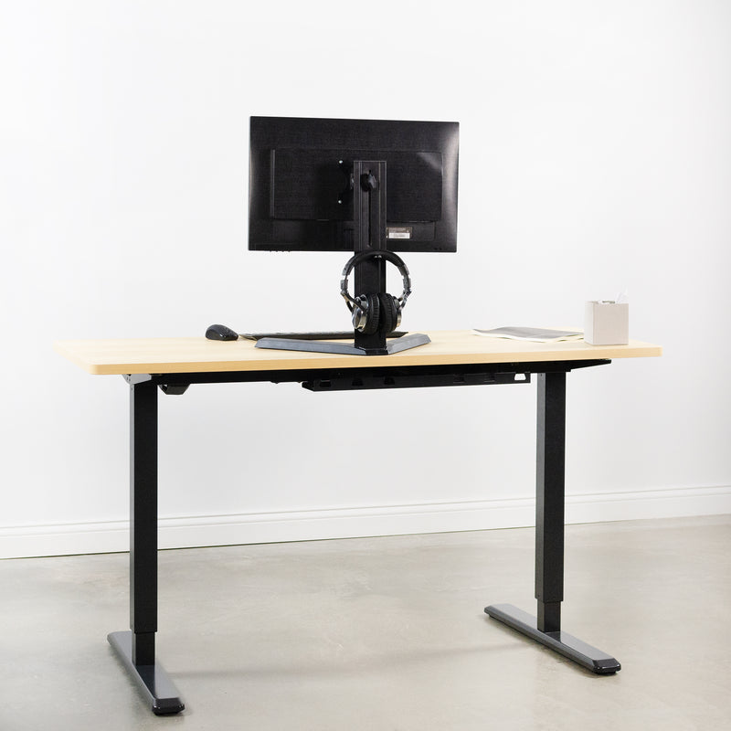 Single Monitor Stand with Headphone Holder