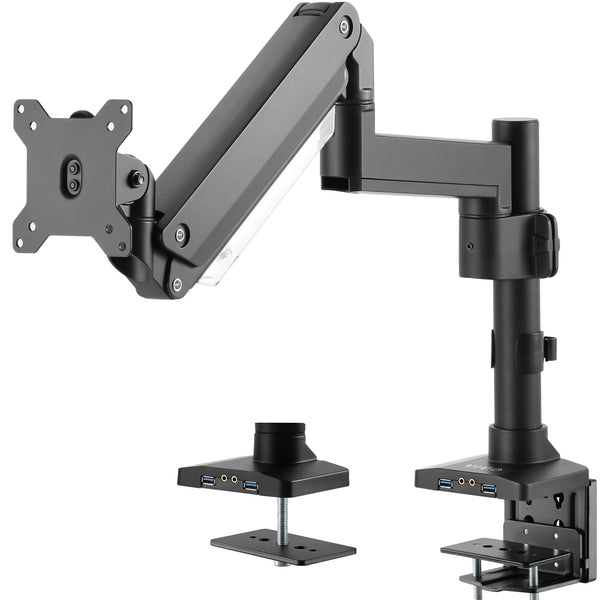Pneumatic Arm Single Monitor Desk Mount with USB