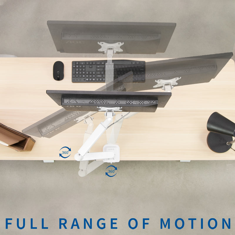 White Pneumatic Arm Single Monitor Desk Mount full range of motion