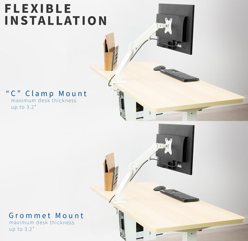 White Pneumatic Arm Single Monitor Desk Mount flexible installation