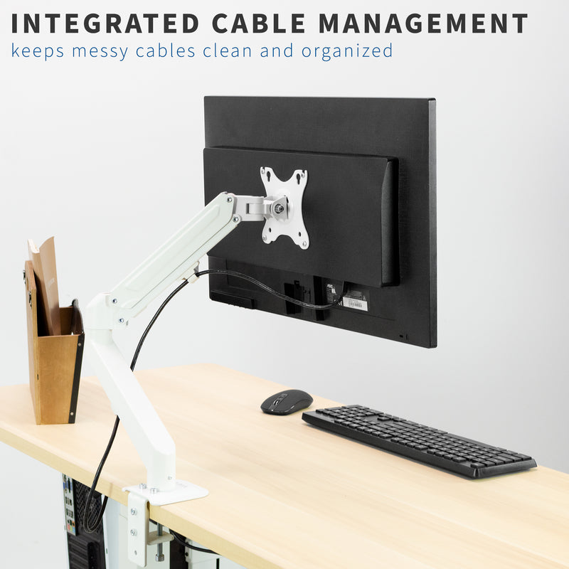 White Pneumatic Arm Single Monitor Desk Mount