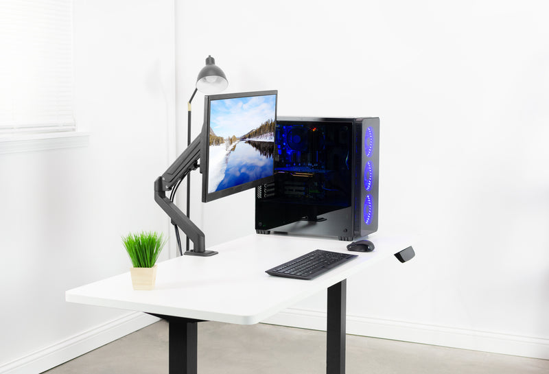 Pneumatic Arm Single Monitor Desk Mount  and blue cpu