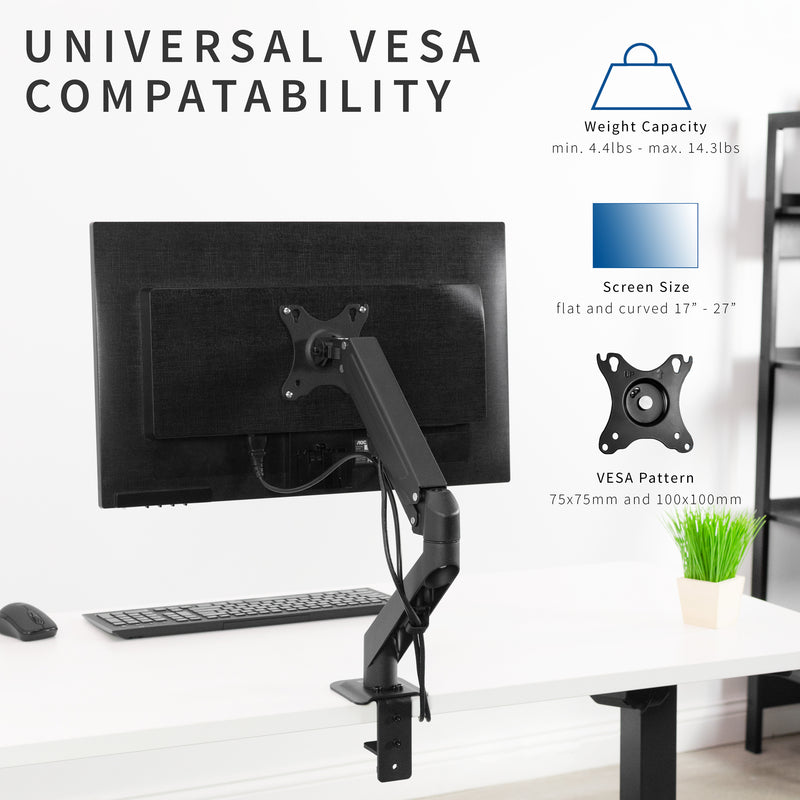 Pneumatic Arm Single Monitor Desk Mount
