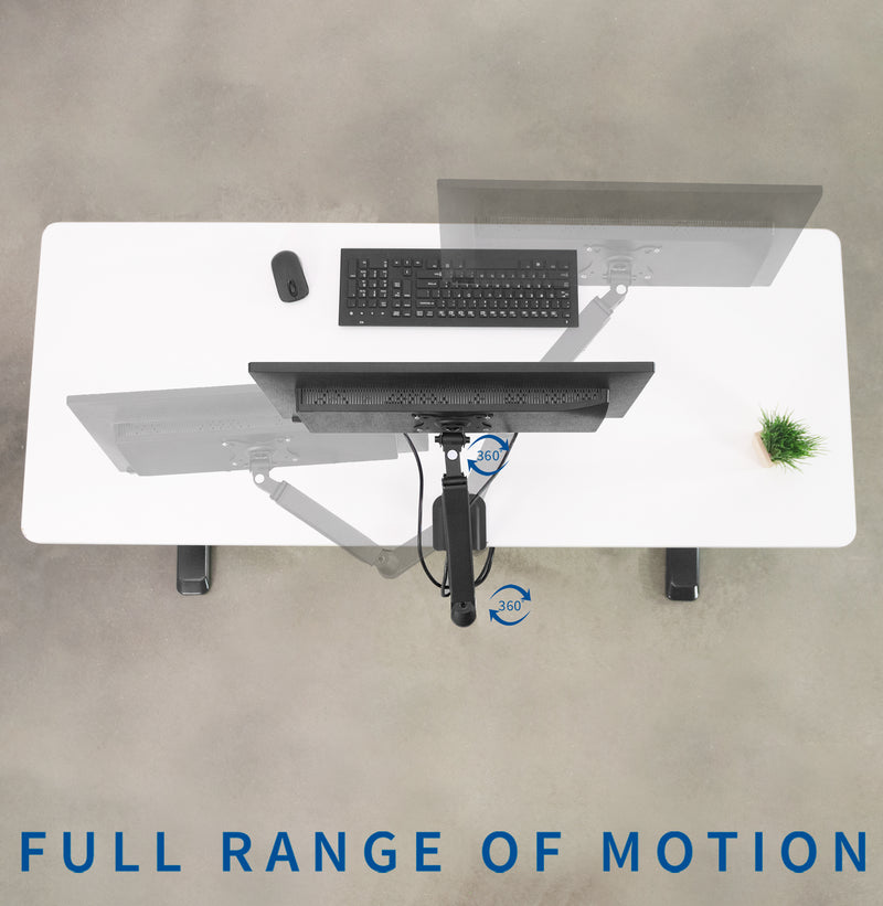 Pneumatic Arm Single Monitor Desk Mount  full range of motion