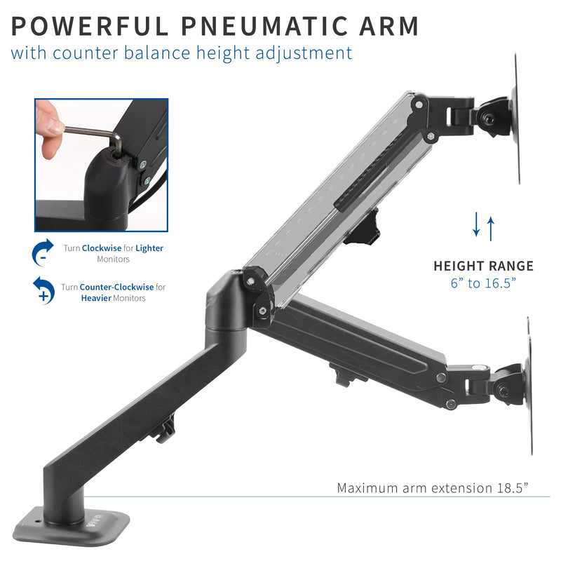 STAND-V101O <br><br>Pneumatic Arm Single Monitor Desk Mount