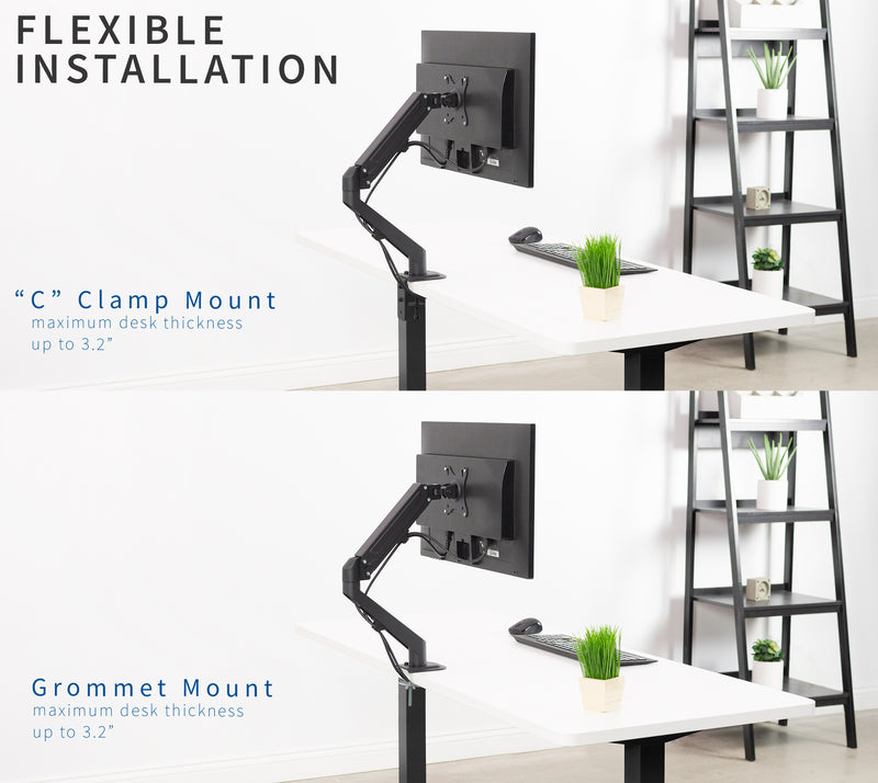 Pneumatic Arm Single Monitor Desk Mount  flexible installation
