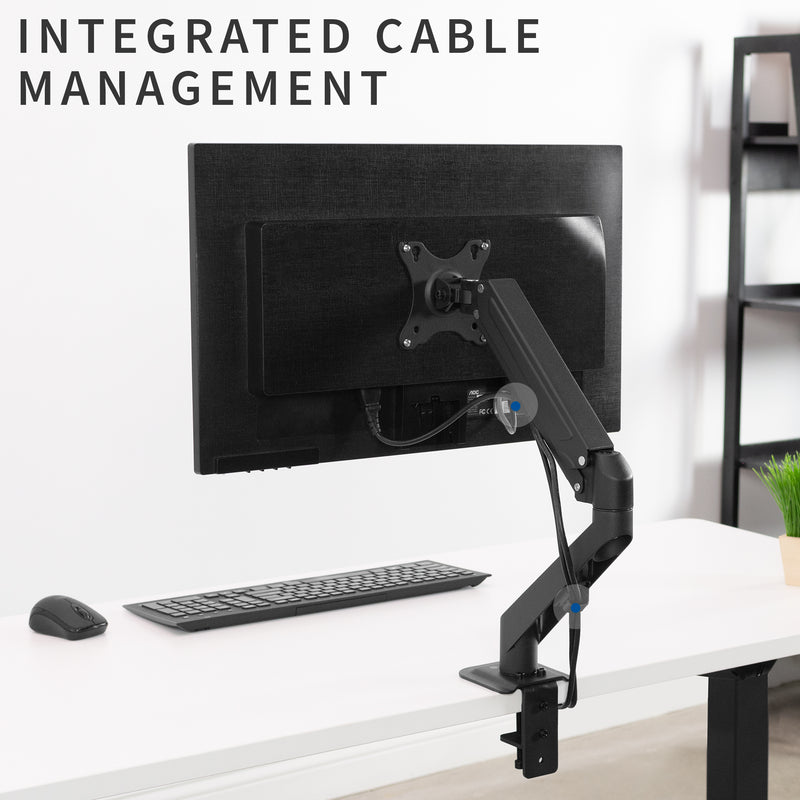 Pneumatic Arm Single Monitor Desk Mount  cable management
