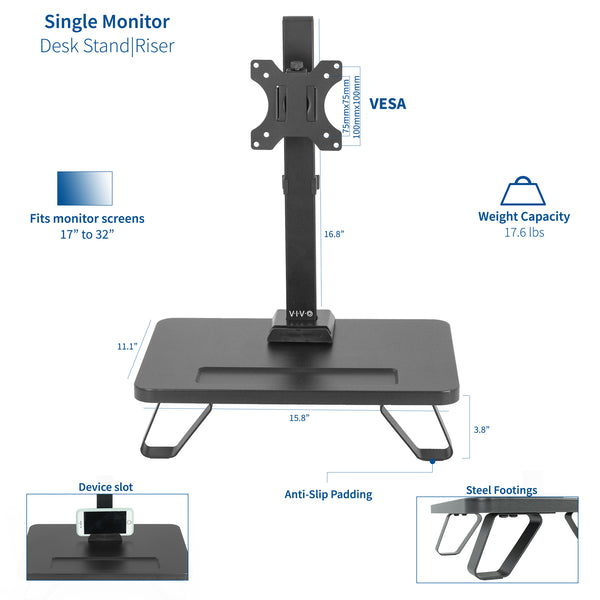 STAND-V101SF <br><br>Single Monitor Desk Stand with Riser