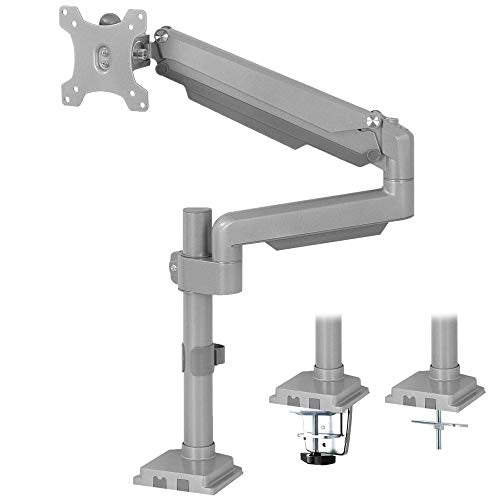 Silver Pneumatic Arm Single Monitor Desk Mount