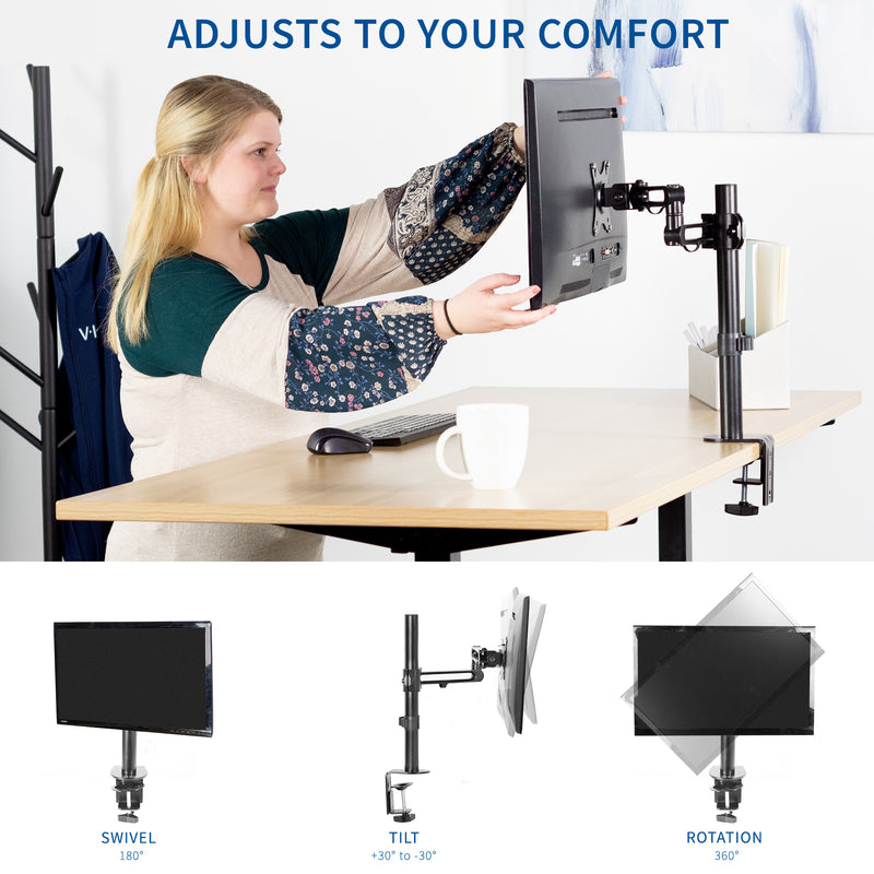 Single Monitor Desk Mount adjust to your comfort