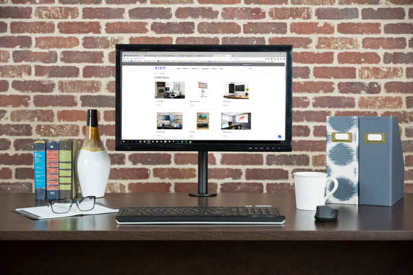 "STAND-V101 <br><br><span style=font-weight:normal;>Full Motion Single VESA Computer Monitor Desk Mount Stand with Articulating Double Center Arm Joint | For 13"" to 32"" Screens </span>"