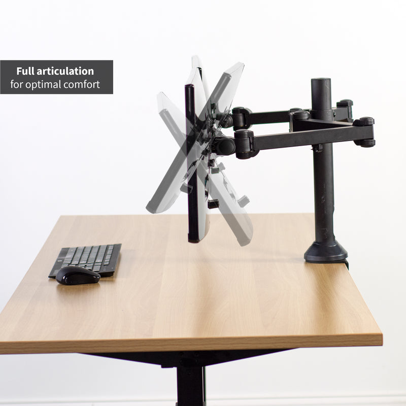 Dual Monitor Desk Mount articulation