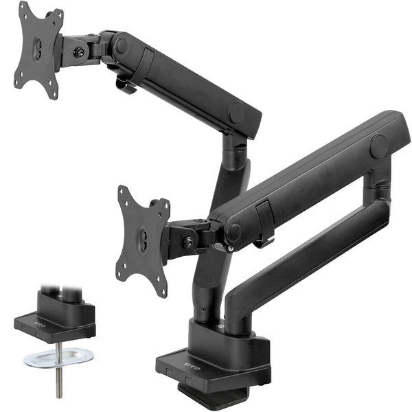 STAND-V102BB<br><br>Pneumatic Arm Dual Monitor Desk Mount