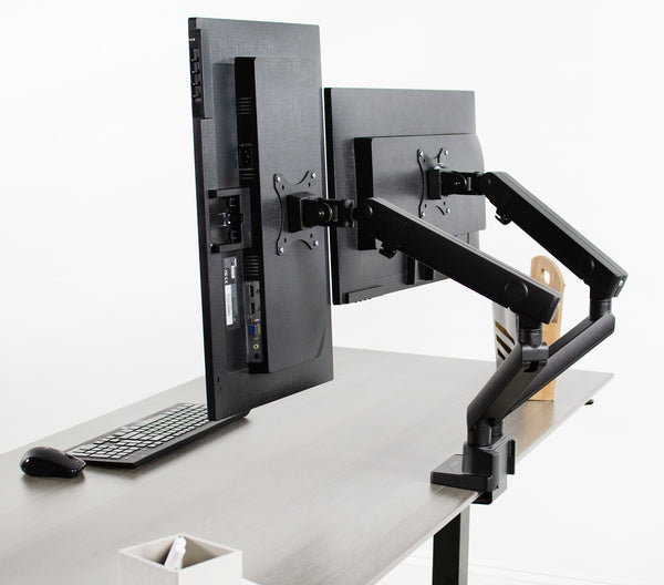 "STAND-V102BB<br><br><span style=font-weight:normal;>VIVO Premium Aluminum Full Motion Dual Monitor Desk Mount Stand with Lift Engine Arm | Fits Screens up to 32"" </span>"