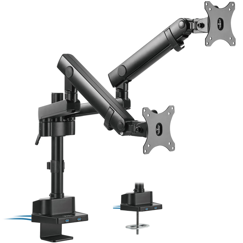 Pneumatic Arm Dual Monitor Desk Mount with USB