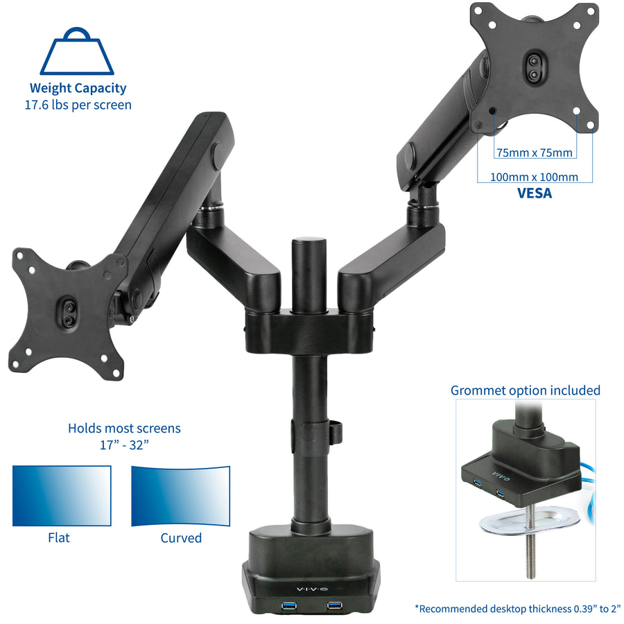 STAND-V102BDU<br><br>Aluminum Dual Monitor Desk Stand for 17