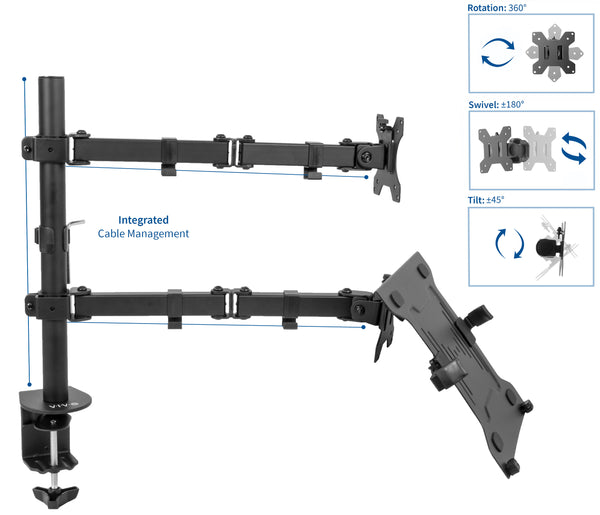 "STAND-V102C <br><br><span style=font-weight:normal;>Full Motion Monitor + Laptop Desk Mount Articulating Double Center Arm Joint VESA Stand | Fits 13"" to 32"" Screen </span>"