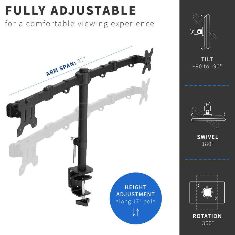 Dual Monitor Desk Mount height adjustment