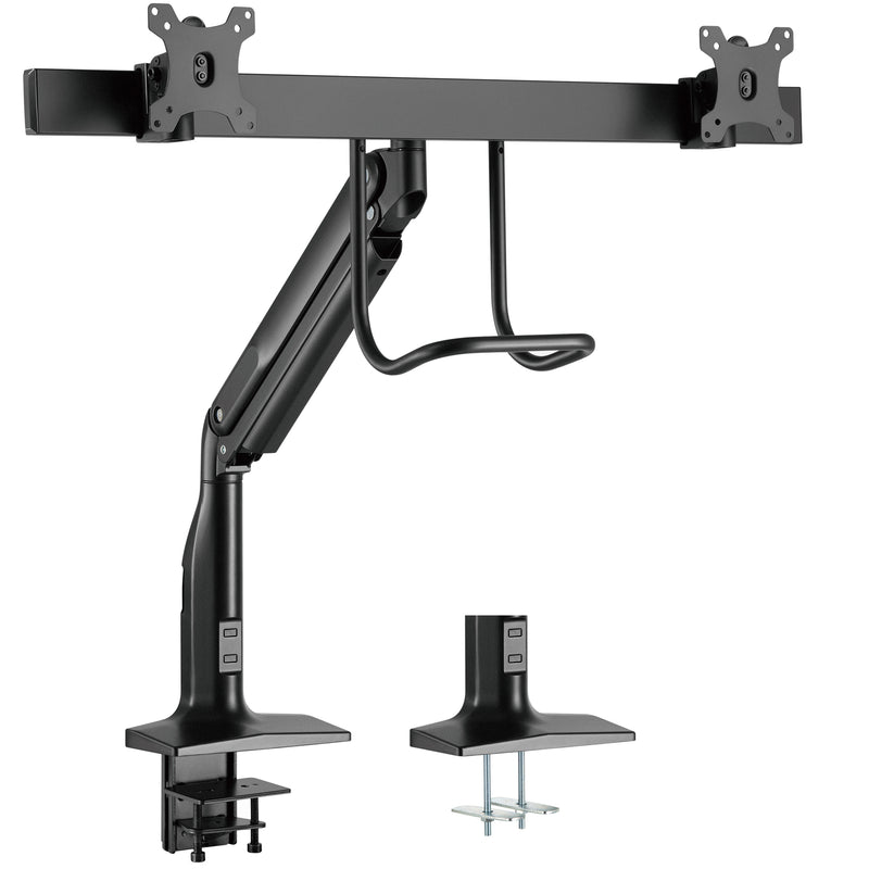 Pneumatic Arm Dual Monitor Desk Mount with Pull Handle