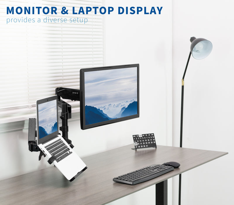 Pneumatic Arm Single Monitor and Laptop Desk Mount