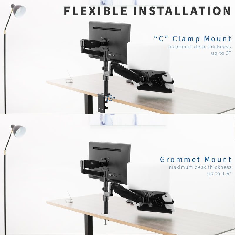 STAND-V102L<br><br>Pneumatic Arm Single Monitor and Laptop Desk Mount