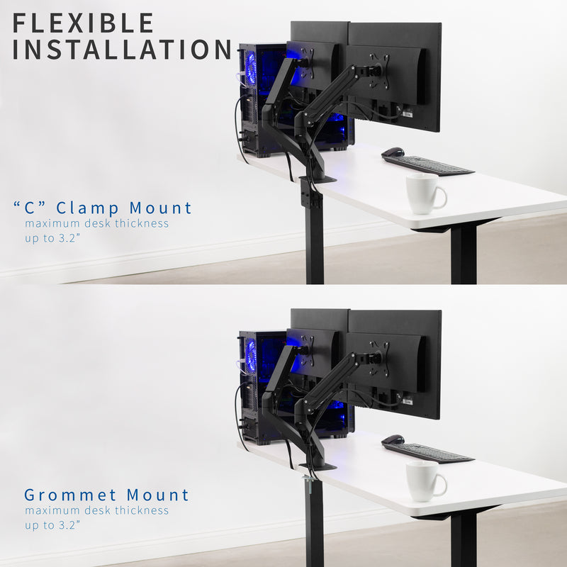 Pneumatic Arm Dual Monitor Desk Mount