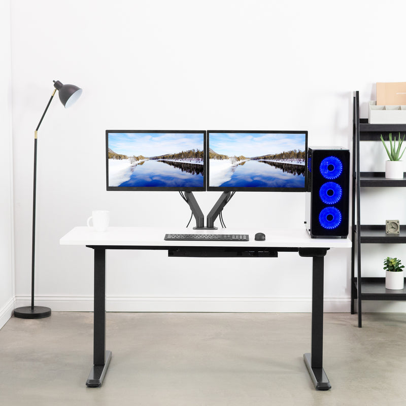 white desk with Pneumatic Arm Dual Monitor Desk Mount