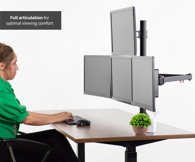 girl typing at Quad Monitor Desk Mount