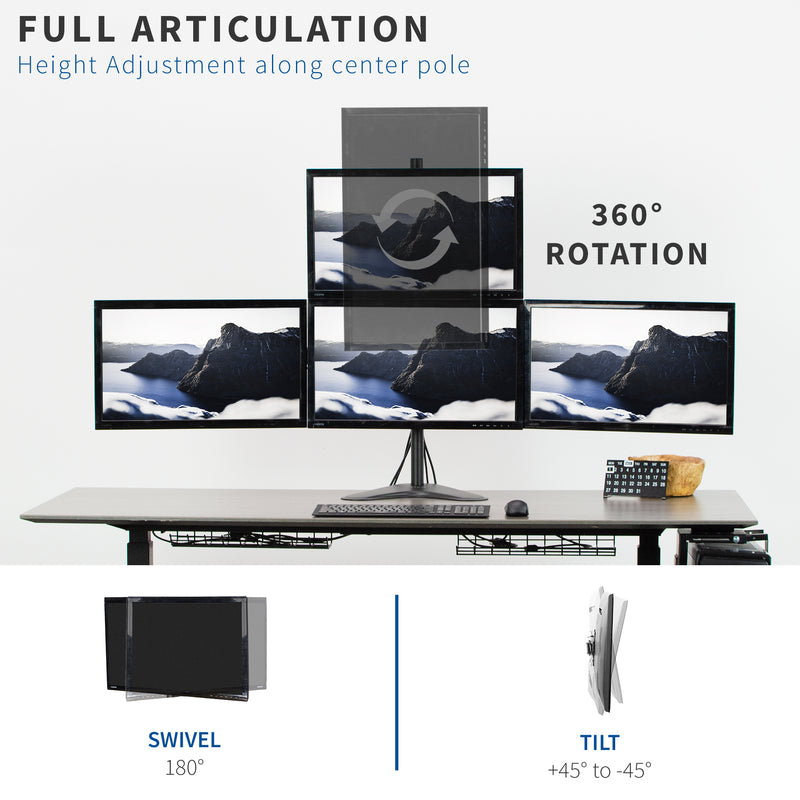 Quad Monitor Desk Mount full articulation