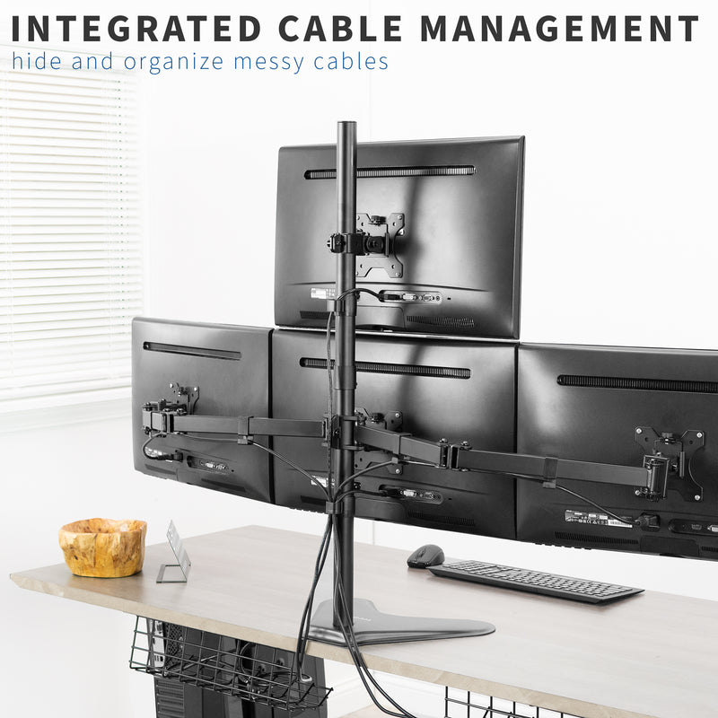 Quad Monitor Desk Mount with integrated cable management